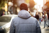 Man Walking Street Rear View - 128411217