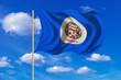 Flag of Minnesota waving on blue sky background