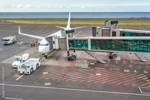 avion sur le tarmac, passerelle télescopique d'embarquement Poster
