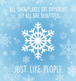 Holiday greeting card with snowflakes on pale blue. All snowflakes are different yet all are beautiful.