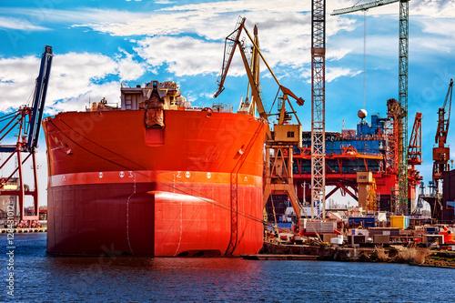 A ship under repair at shipyard in Gdansk, Poland.