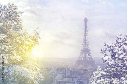 Keuken foto achterwand Eiffeltoren Christmas background : Aerial view of Paris cityscape with Eiffel tower at winter sunset in Paris. Vintage colored picture. Business, Love and travel concept