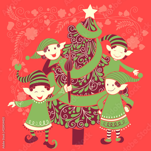 Foto op Canvas Baksteen People celebrating festival Merry Christmas holiday background