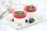 Delicious Italian dessert Panna Cotta with raspberry coulis and fresh blueberries served for two in small transparent glasses