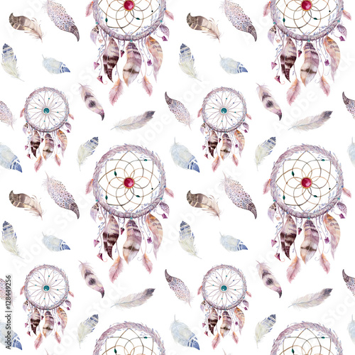 Dreamcatcher and feather pattern. Watercolor bohemian decoration - 128449256