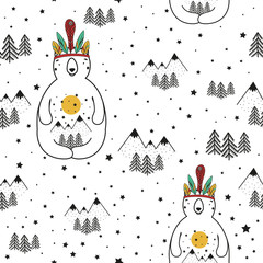 Vector stylish cartoon seamless pattern. Illustration with bear, pine trees and mountains