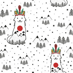 Vector stylish cartoon seamless pattern. Illustration with smiley face fox, pine trees and mountain