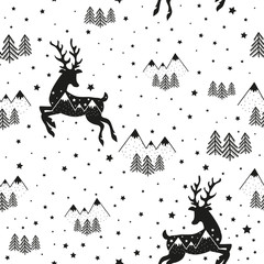 Vector hipster animal seamless pattern. Illustration black deer silhouette, pine trees, stars and mountains