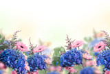 Naklejka Amazing background with hydrangeas and daisies. Yellow and blue flowers on a white blank. Floral card nature. bokeh butterflies.