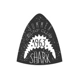 Great White Shark Head Summer Surf Club Black And White Stamp With Dangerous Animal Silhouette Template