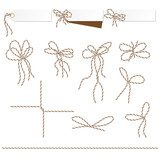 Tags and labels with bakers twine bows ribbons - 128457674