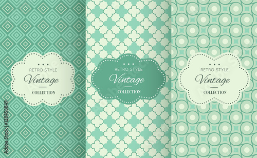 Retro mint and emerald vector seamless patterns