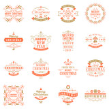 Set of Merry Christmas and Happy New Year Decorative Badges for Greetings Cards or Invitations. Vector Illustration. Typographic Design Elements. Red and Golden Color Theme