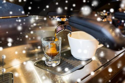 Poster close up of espresso machine making coffee