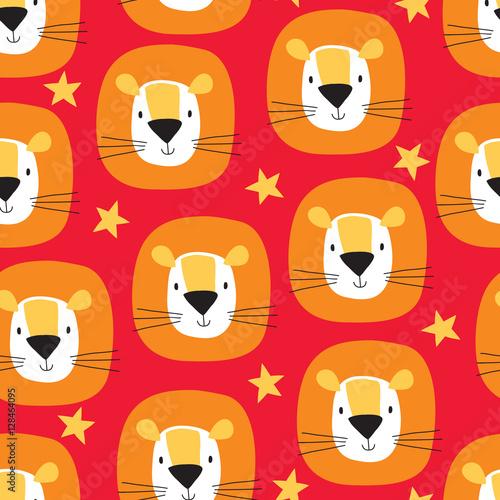 Materiał do szycia seamless cute lion cartoon pattern vector illustration