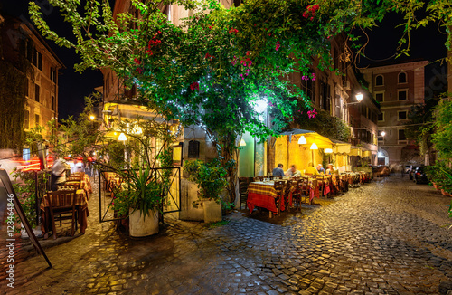 Night view of old street in Trastevere in Rome, Italy Poster