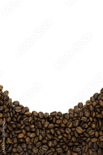 Deurstickers Koffiebonen Coffee beans on a white background