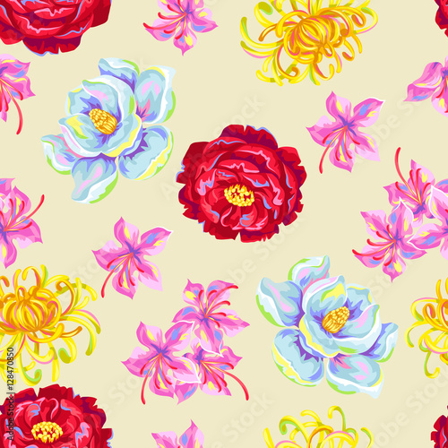 Fototapeta Seamless pattern with China flowers. Bright buds of magnolia, peony, rhododendron and chrysanthemum