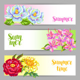 Banners set with China flowers. Bright buds of magnolia, peony, rhododendron and chrysanthemum