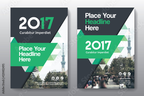 Green Color Scheme With City Background Business Book Cover Design