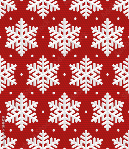 Materiał do szycia Traditional Christmas Seamless Pattern with Isometric 3D Snowfla