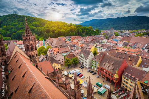 Leinwanddruck Bild Historic town of Freiburg im Breisgau, Baden-Württemberg, Germany