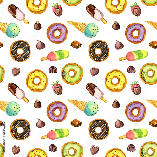Cotton fabric seamless pattern with watercolor ice cream, donuts and candies