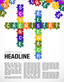 Words CHEMISTRY, SCIENCE, RESEARCH formed by symbols of the Periodic Table of the Elements in the form of puzzle pieces. Page layout - Vector image