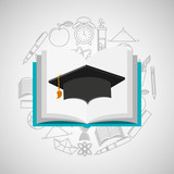 eduation online concept book and graduation cap school background vector illustration eps 10
