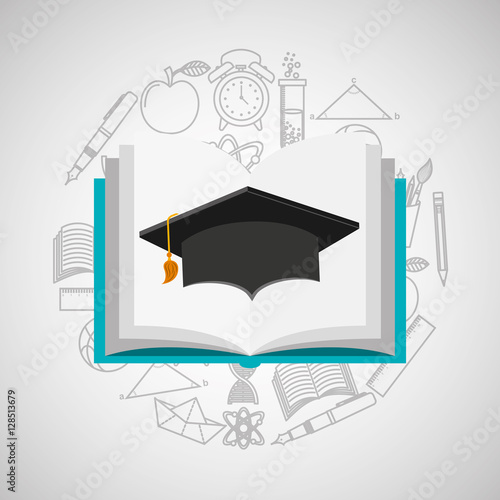 Poster eduation online concept book and graduation cap school background vector illustr