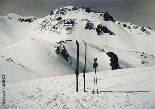 Poster ski and poles on Sorel Pass, Italy 1939