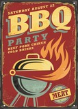 Fototapety BBQ party retro sign design layout