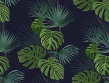 Seamless tropiska blad. Handritad bakgrund.