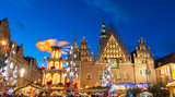 Christmas market in Old Town in Wroclaw, Poland
