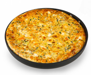 frittata with leek and pumpkin isolated on white in a pan