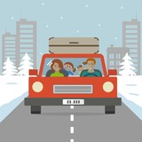 Family goes on vacation. There is a mother and a father with children in a red car on the background of a winter landscape in the picture. Vector illustration.