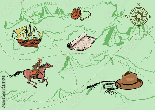 Materiał do szycia Adventure vintage seamless pattern of map. Map of treasure with rider, mountains, hills, river, compass and other design elements. Vector hand drawn background.