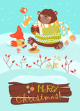 Cute bear and little fox celebrating Christmas