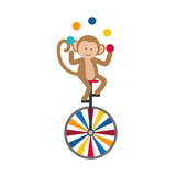 monkey juggling cartoon icon vector illustration graphic design