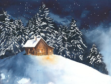 """Постер, картина, фотообои """"House cabin in the woods in the forest watercolor painting illustration greeting card christmas"""""""
