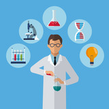 medical scientist test tube laboratory icons vector illustration eps 10