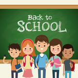 back to school students green board and chalk text vector illustration eps 10