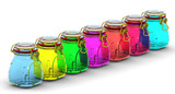 Multicolored glass jars for canning