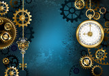 Turquoise Background with Gears