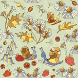 Floral seamless pattern, flowers, chamomile - 128561460