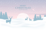 Christmas background with deers in forest. Winter landscape on background sunset