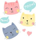 cute kittens, cats, vector