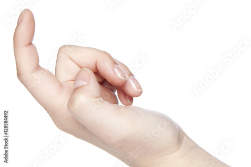 inviting gesture, a hand on a white background Poster