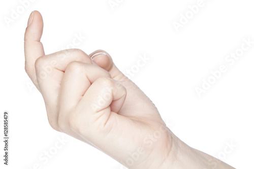 Poster gesture of inviting someone hand on a white background