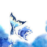 Watercolor whale on blue watercolor background